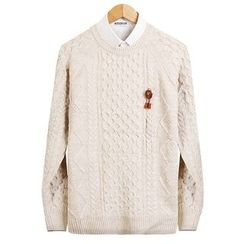 Seoul Homme - Round-Neck Cable-Knit Top