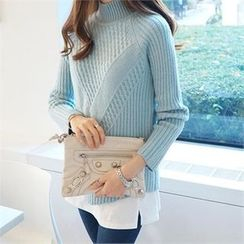 PIPPIN - Mock-Neck Raglan-Sleeve Knit Top