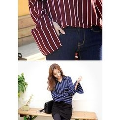 DEEPNY - Pocket-Front Striped Blouse