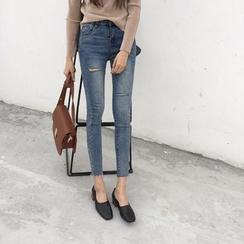 Alfie - Distressed Elastic Cropped Jeans