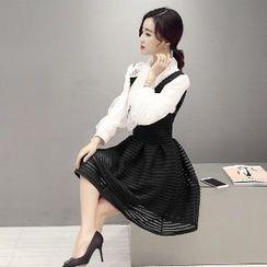 Romantica - Set: Striped Mesh Suspender Skirt + Blouse