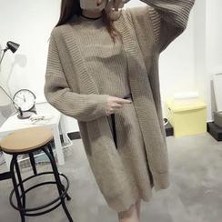 Ichiyarn - Set: Long Ribbed Cardigan + Knit Tank Dress