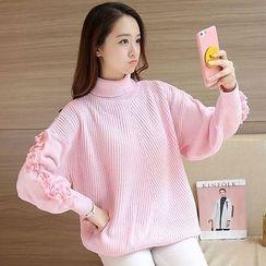 Shomez - Tasseled Turtleneck Chunky Sweater