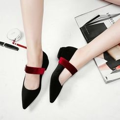 JY Shoes - Color Block Low Block Heel Pointy Mary Jane Pumps