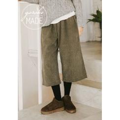 GOROKE - Banded-Waist Wide-Leg Corduroy Cropped Pants