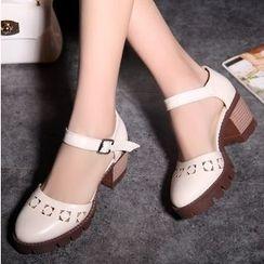 TULASI - Ankle Strap Block Heel Sandals