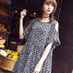 Wimi girls - Printed Cut Out Shoulder Short Sleeve Smock Dress