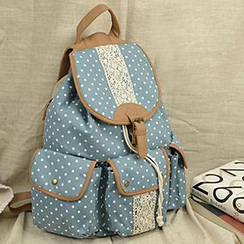 Meringue - Buckled Dotted Lace Panel Backpack