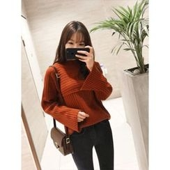 hellopeco - Wool Blend Monk-Neck Knit Sweater