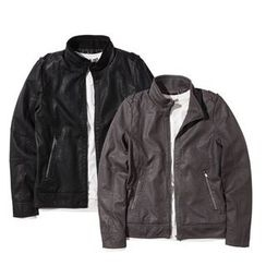 Seoul Homme - Zipped Faux-Leather Jacket