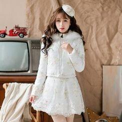 Candy Rain - Lace Hem Floral A-Line Skirt