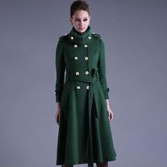 HOTCAKE - 雙排扣羊毛外套連衣裙