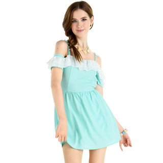 YesStyle Dress - Ruffled Drop-Sleeve Chiffon Dress