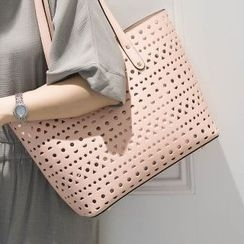 Axixi - Faux-Leather Cutout Tote