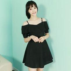 Dodostyle - Ruffle-Trim Off-Shoulder A-Line Dress