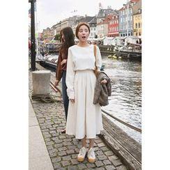CHERRYKOKO - Long-Sleeve Tie-Waist A-Line Midi Dress