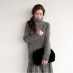 NIPONJJUYA - Turtle-Neck Dip-Back Rib-Knit Sweater