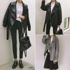 CosmoCorner - Oversized Faux Leather Jacket