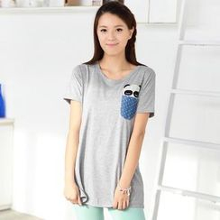 59 Seconds - Panda Appliqué Short-Sleeve Top