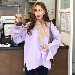 QNIGIRLS - Round-Neck Slit-Sleeve Sweater