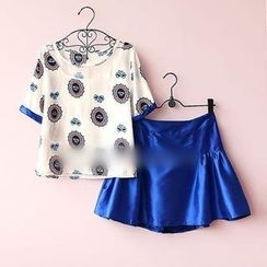 Munai - Set: Short-Sleeve Sheer-Panel Printed Top + Skirt