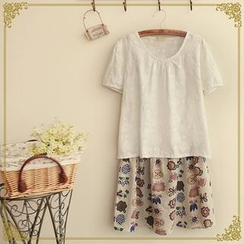 Fairyland - Set: Short-Sleeve Embroidered Top + Floral Slipdress