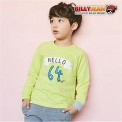 BILLY JEAN - Boys Contrast-Cuff Lettering Pullover
