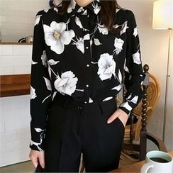 QNIGIRLS - Floral Print Long-Sleeve Blouse