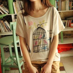 JVL - Short-Sleeved Birdcage Print T-Shirt