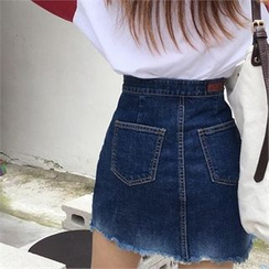 QNIGIRLS - Fray-Hem Denim Mini Skirt