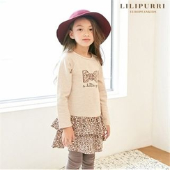 LILIPURRI - Girls Leopard Layered Dress