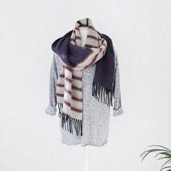 GOROKE - 流蘇條紋圍巾