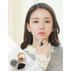 soo n soo - Rhinestone Ball Tasseled Open Ring