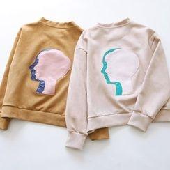 Bonbon - Applique Faux Suede Sweatshirt