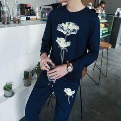 Danjieshi - Set: Floral Print Pullover + Sweatpants