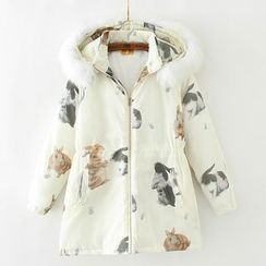 Citree - Furry Trim Rabbit Print Hooded Padded Jacket