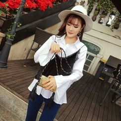 RUI - Set: Bell Sleeve Blouse + Strappy Top