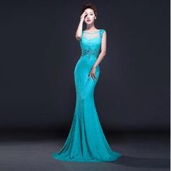 Posh Bride - Sleeveless Lace Mermaid Evening Gown