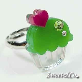 Sweet & Co. - Mini Green Cupcake Crystal Silver Ring