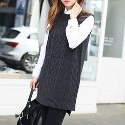 Seoul Fashion - Sleeveless Cable-Knit Top