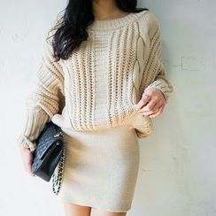 chuu - Batwing-Sleeve Tube-Hem Cable-Knit Dress