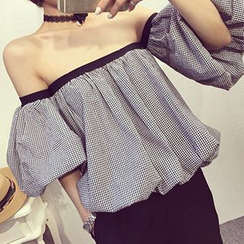 Frontline - Gingham Off-Shoulder Blouse