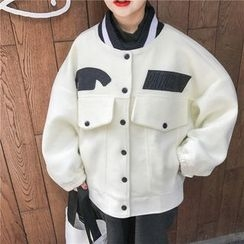 MePanda - Applique Loose Fit Woolen Jacket