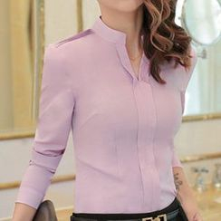 Eferu - Split Neck Plain Long Sleeve Chiffon Blouse