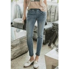 REDOPIN - Band-Waist Straight-Cut Jeans