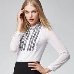 Sentubila - Set: Stand-collar Chiffon Blouse + Camisole