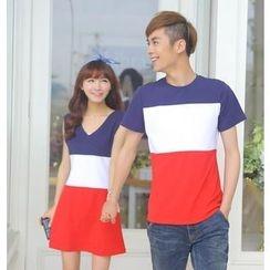 Love Affairs - Color-Block Couple T-Shirt / Sleeveless Dress