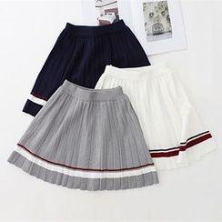 Meimei - Striped Pleated Knit Mini Skirt