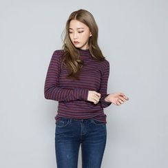 Envy Look - Mock-Neck Striped T-Shirt