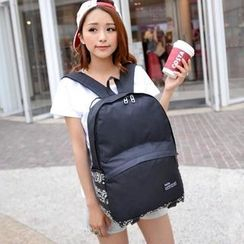 Crystal - Print Panel Nylon Backpack